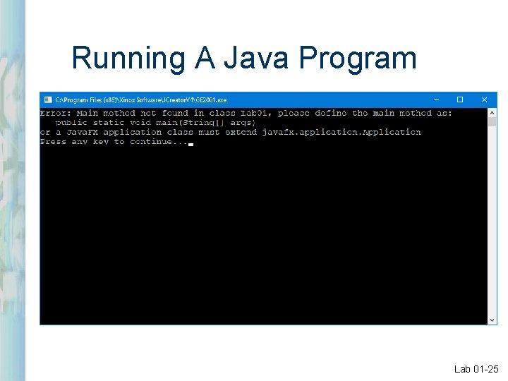 Running A Java Program Lab 01 -25