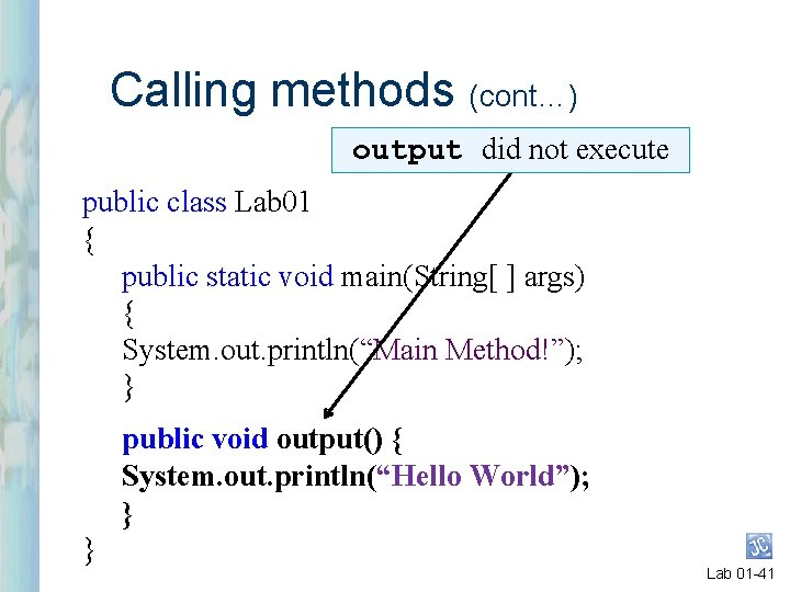 Calling methods (cont…) output did not execute public class Lab 01 { public static