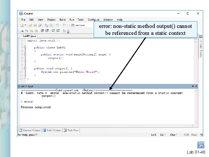 error: non-static method output() cannot be referenced from a static context Lab 01 -48