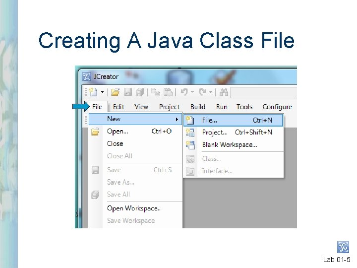 Creating A Java Class File Lab 01 -5
