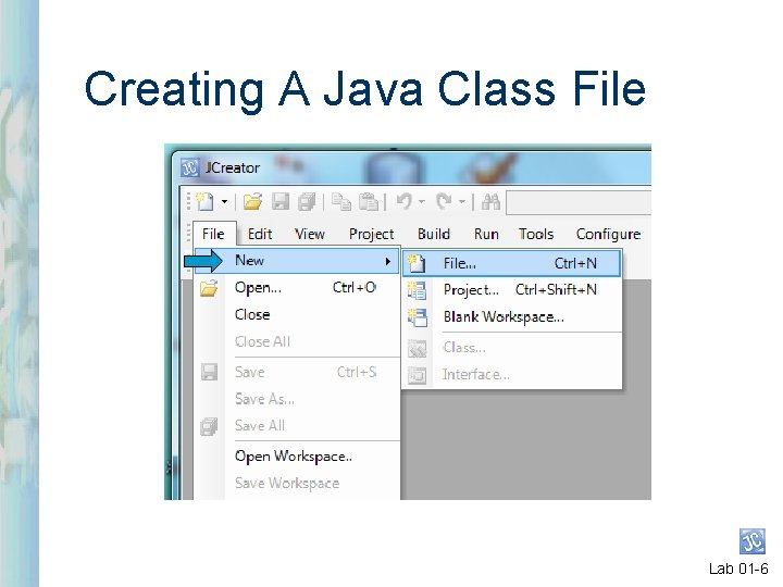 Creating A Java Class File Lab 01 -6