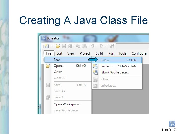 Creating A Java Class File Lab 01 -7