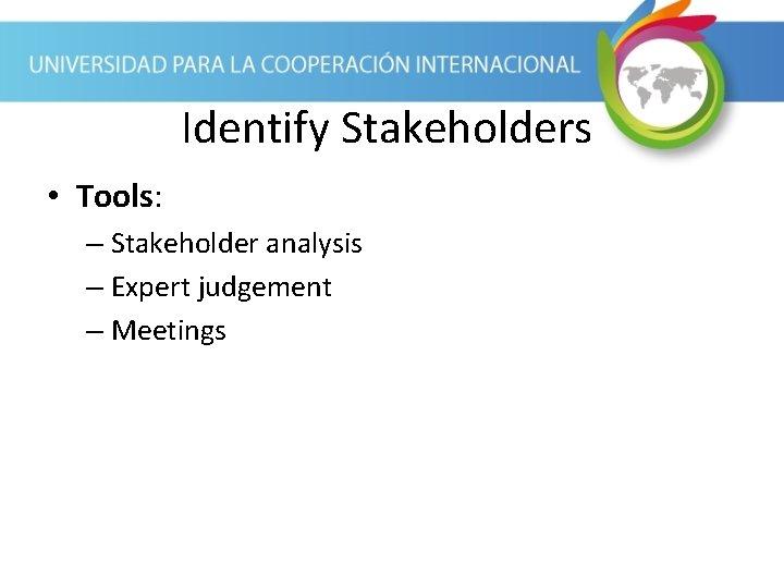Identify Stakeholders • Tools: – Stakeholder analysis – Expert judgement – Meetings