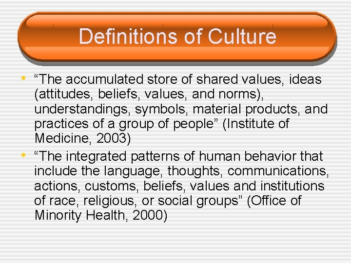 """Definitions of Culture • """"The accumulated store of shared values, ideas • (attitudes, beliefs,"""