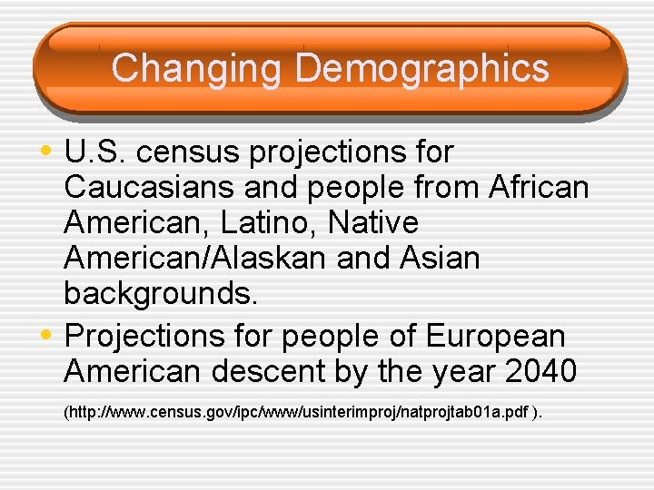 Changing Demographics • U. S. census projections for • Caucasians and people from African