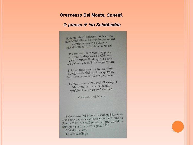 Crescenzo Del Monte, Sonetti, O pranzo d' 'oo Sciabbàdde