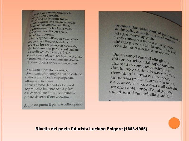Ricetta del poeta futurista Luciano Folgore (1888 -1966)