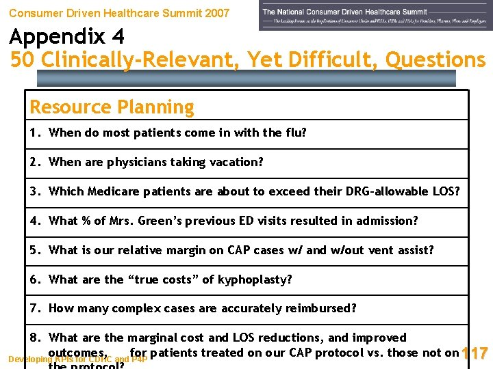 Consumer Driven Healthcare Summit 2007 Appendix 4 50 Clinically-Relevant, Yet Difficult, Questions Resource Planning