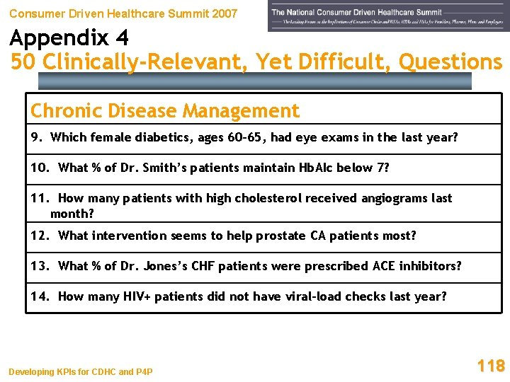Consumer Driven Healthcare Summit 2007 Appendix 4 50 Clinically-Relevant, Yet Difficult, Questions Chronic Disease