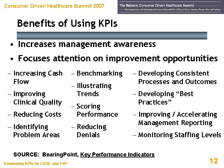 Consumer Driven Healthcare Summit 2007 Benefits of Using KPIs • Increases management awareness •