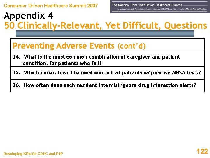 Consumer Driven Healthcare Summit 2007 Appendix 4 50 Clinically-Relevant, Yet Difficult, Questions Preventing Adverse