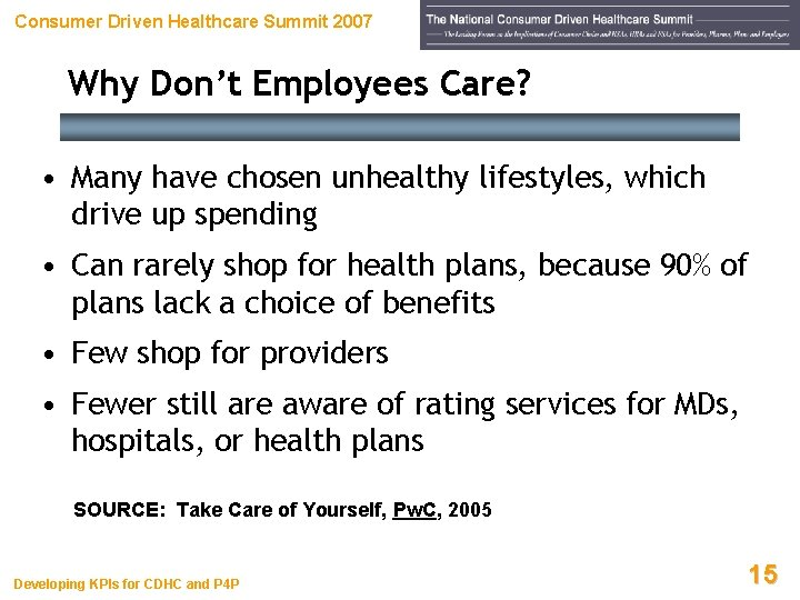 Consumer Driven Healthcare Summit 2007 Why Don't Employees Care? • Many have chosen unhealthy