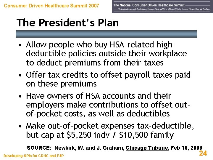 Consumer Driven Healthcare Summit 2007 The President's Plan • Allow people who buy HSA-related