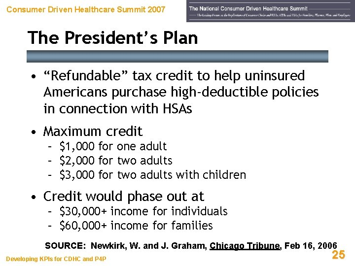 """Consumer Driven Healthcare Summit 2007 The President's Plan • """"Refundable"""" tax credit to help"""