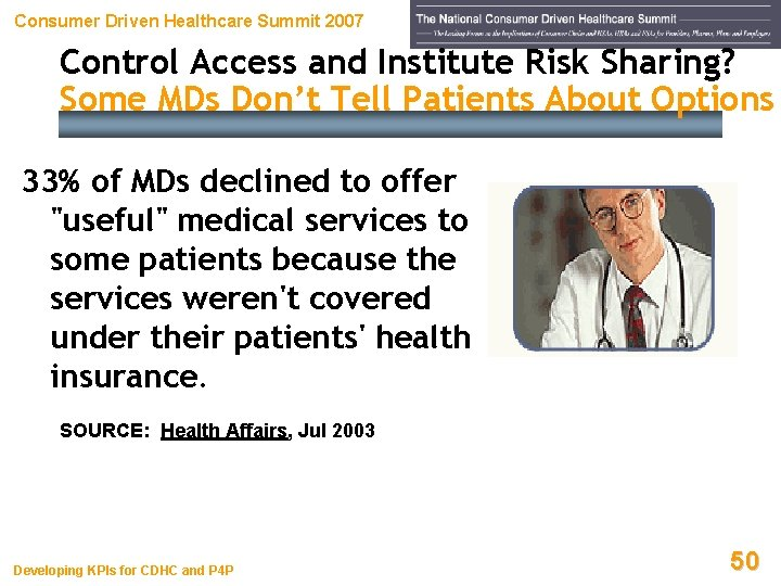 Consumer Driven Healthcare Summit 2007 Control Access and Institute Risk Sharing? Some MDs Don't