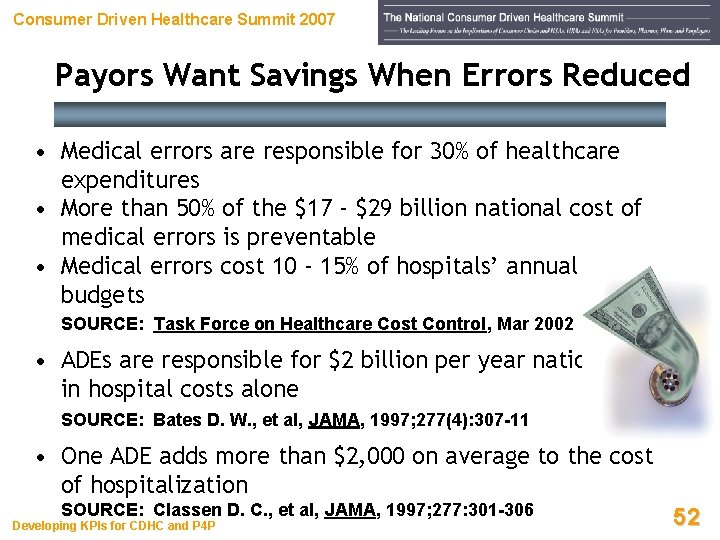 Consumer Driven Healthcare Summit 2007 Payors Want Savings When Errors Reduced • Medical errors