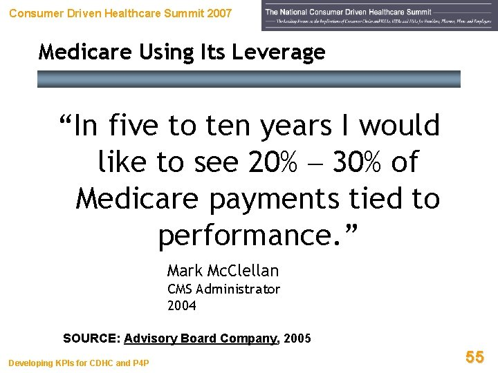 """Consumer Driven Healthcare Summit 2007 Medicare Using Its Leverage """"In five to ten years"""