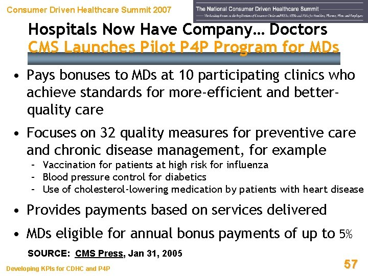 Consumer Driven Healthcare Summit 2007 Hospitals Now Have Company… Doctors CMS Launches Pilot P