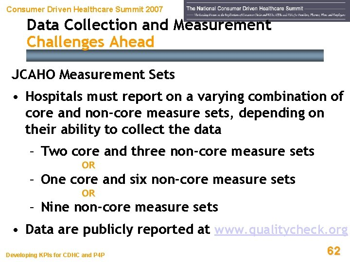 Consumer Driven Healthcare Summit 2007 Data Collection and Measurement Challenges Ahead JCAHO Measurement Sets