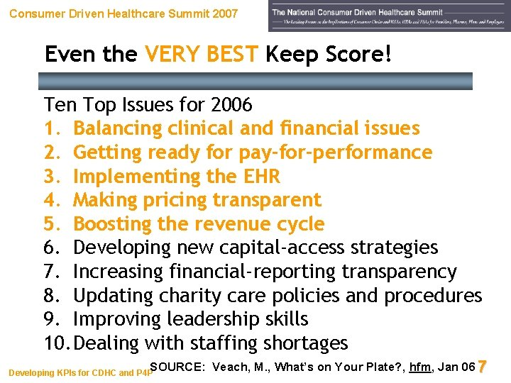 Consumer Driven Healthcare Summit 2007 Even the VERY BEST Keep Score! Ten Top Issues