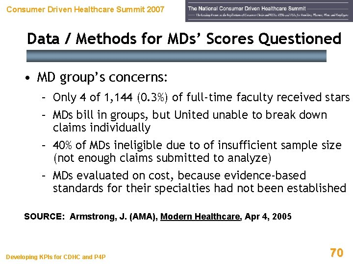 Consumer Driven Healthcare Summit 2007 Data / Methods for MDs' Scores Questioned • MD