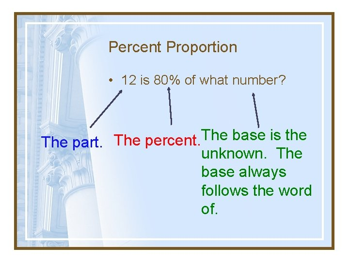 Percent Proportion • 12 is 80% of what number? The base is the The