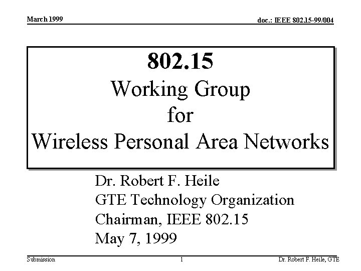 March 1999 doc. : IEEE 802. 15 -99/004 802. 15 Working Group for Wireless