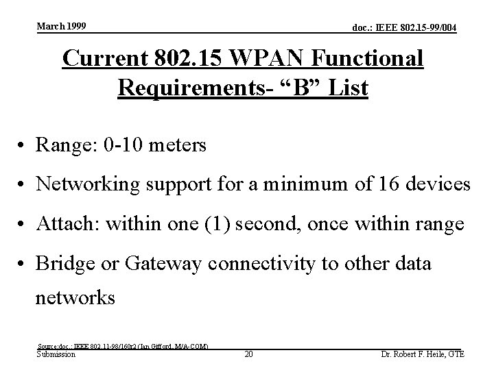 March 1999 doc. : IEEE 802. 15 -99/004 Current 802. 15 WPAN Functional Requirements-