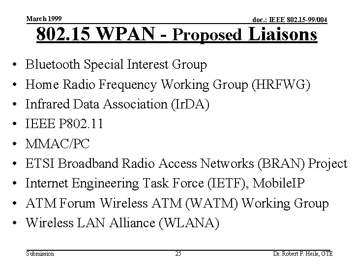 March 1999 doc. : IEEE 802. 15 -99/004 802. 15 WPAN - Proposed Liaisons