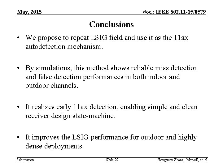 May, 2015 doc. : IEEE 802. 11 -15/0579 Conclusions • We propose to repeat