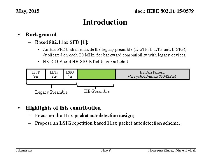 May, 2015 doc. : IEEE 802. 11 -15/0579 Introduction • Background – Based 802.