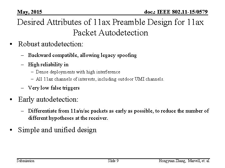 May, 2015 doc. : IEEE 802. 11 -15/0579 Desired Attributes of 11 ax Preamble