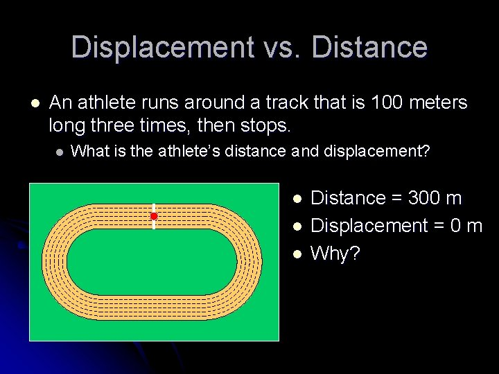 Displacement vs. Distance l An athlete runs around a track that is 100 meters