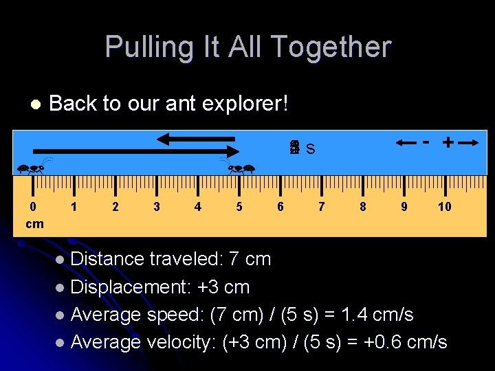 Pulling It All Together l Back to our ant explorer! - + 1 s