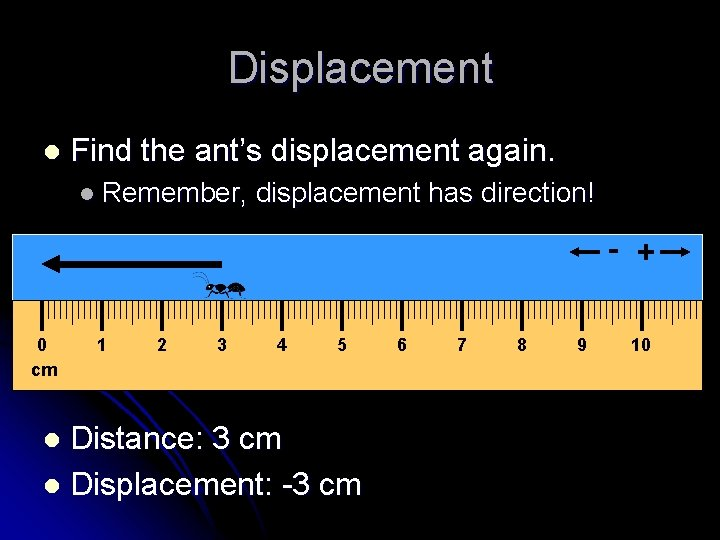 Displacement l Find the ant's displacement again. l Remember, displacement has direction! - +
