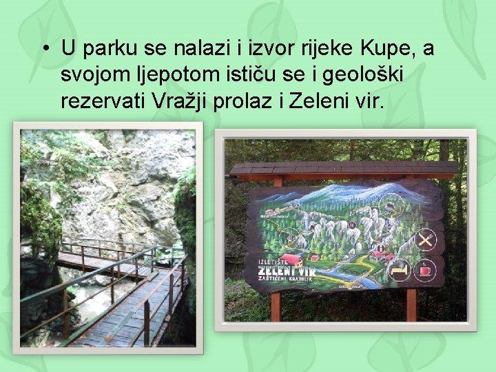 • U parku se nalazi i izvor rijeke Kupe, a svojom ljepotom ističu