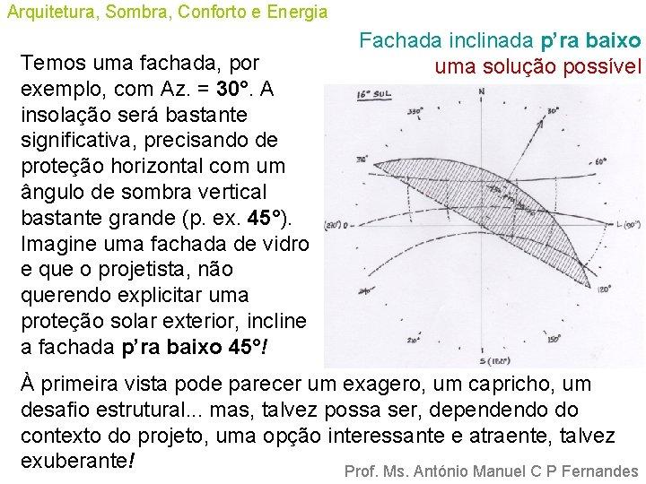 Arquitetura, Sombra, Conforto e Energia Temos uma fachada, por exemplo, com Az. = 30°.