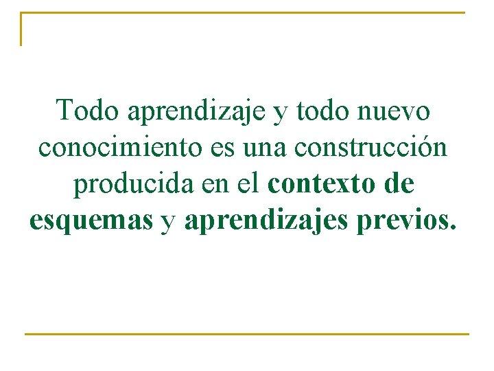 Todo aprendizaje y todo nuevo conocimiento es una construcción producida en el contexto de