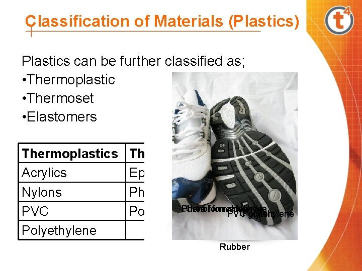Classification of Materials (Plastics) Plastics can be further classified as; • Thermoplastic • Thermoset