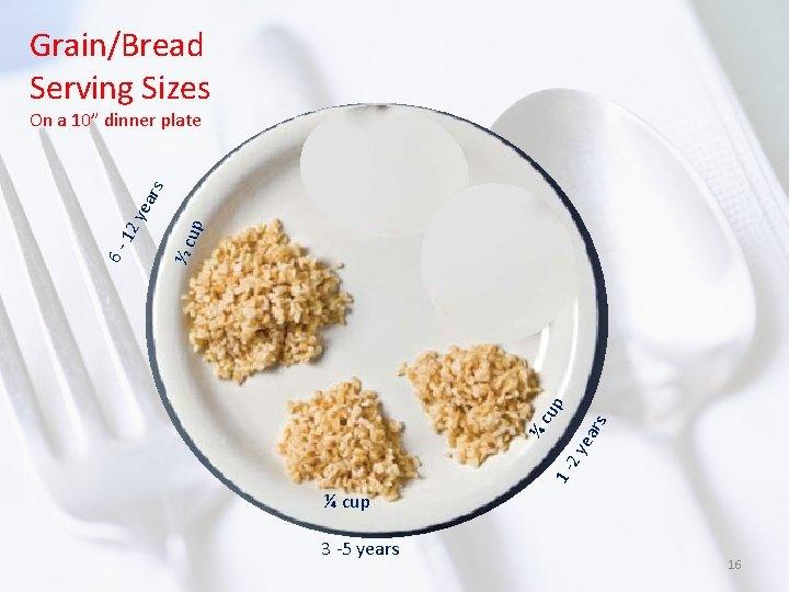 Grain/Bread Serving Sizes p rs ea 12 y ¼c up ½ cu 6 -