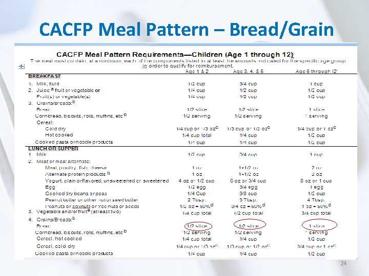 CACFP Meal Pattern – Bread/Grain 24