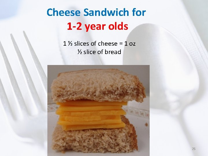 Cheese Sandwich for 1 -2 year olds 1 ½ slices of cheese = 1