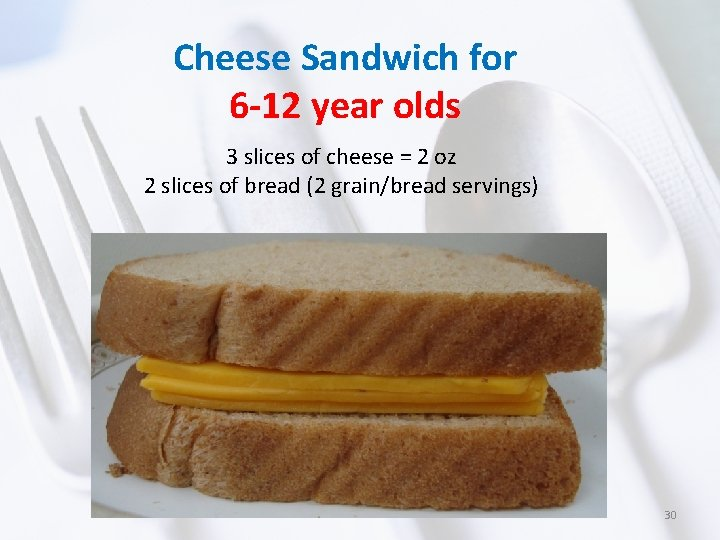 Cheese Sandwich for 6 -12 year olds 3 slices of cheese = 2 oz