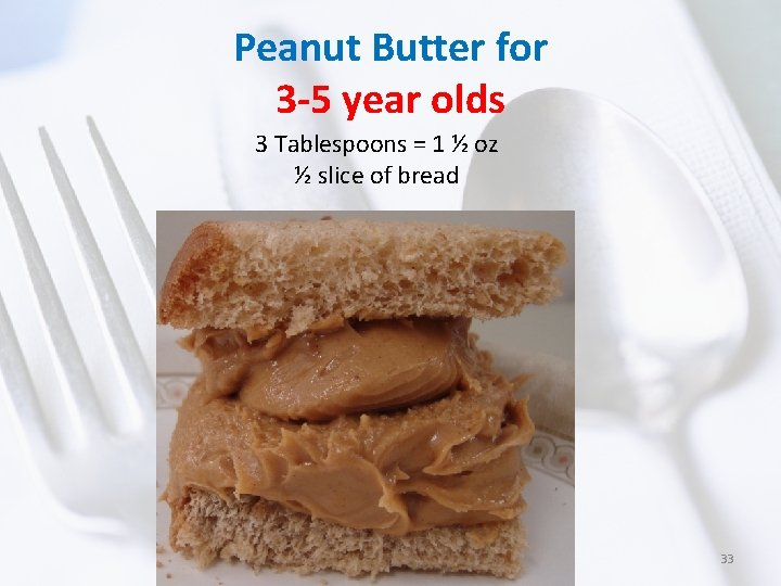 Peanut Butter for 3 -5 year olds 3 Tablespoons = 1 ½ oz ½