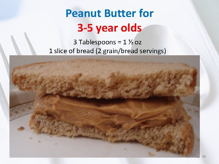 Peanut Butter for 3 -5 year olds 3 Tablespoons = 1 ½ oz 1