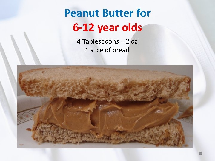 Peanut Butter for 6 -12 year olds 4 Tablespoons = 2 oz 1 slice