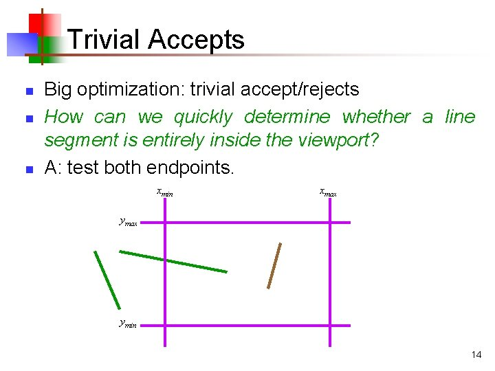 Trivial Accepts n n n Big optimization: trivial accept/rejects How can we quickly determine