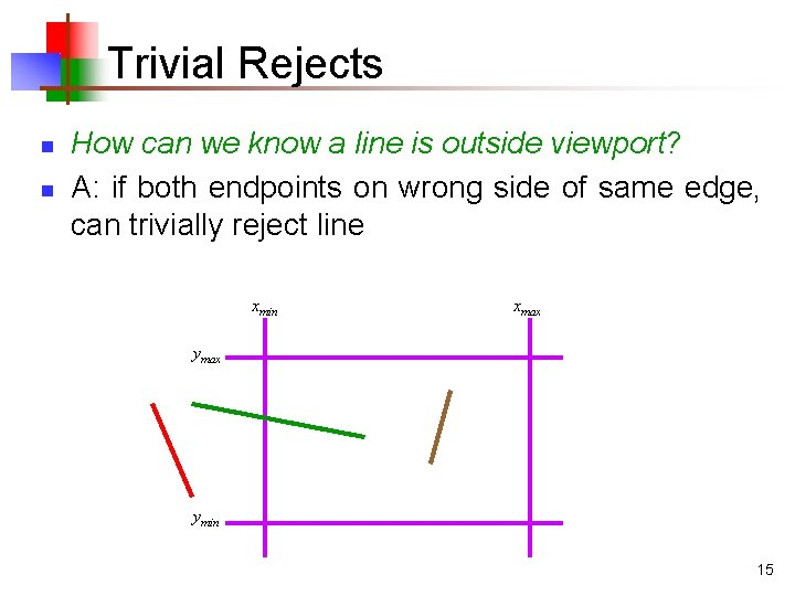 Trivial Rejects n n How can we know a line is outside viewport? A: