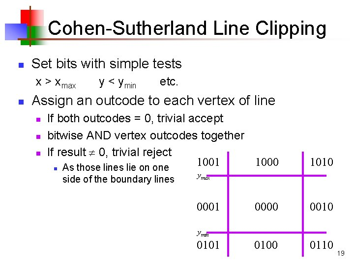 Cohen-Sutherland Line Clipping n Set bits with simple tests x > xmax n y