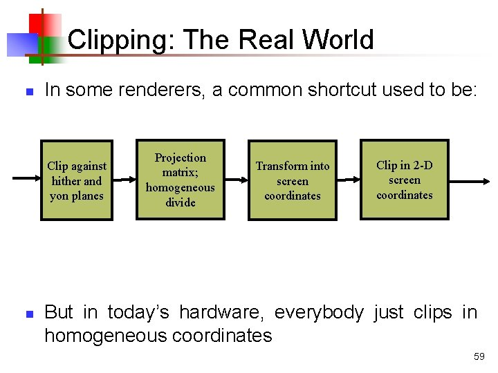 Clipping: The Real World n In some renderers, a common shortcut used to be: